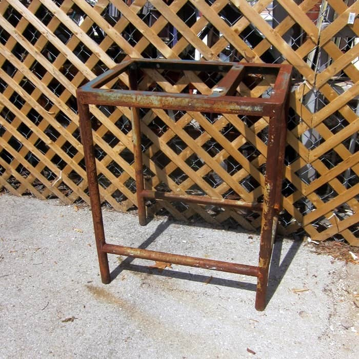 rustic chippy paint iron base for table
