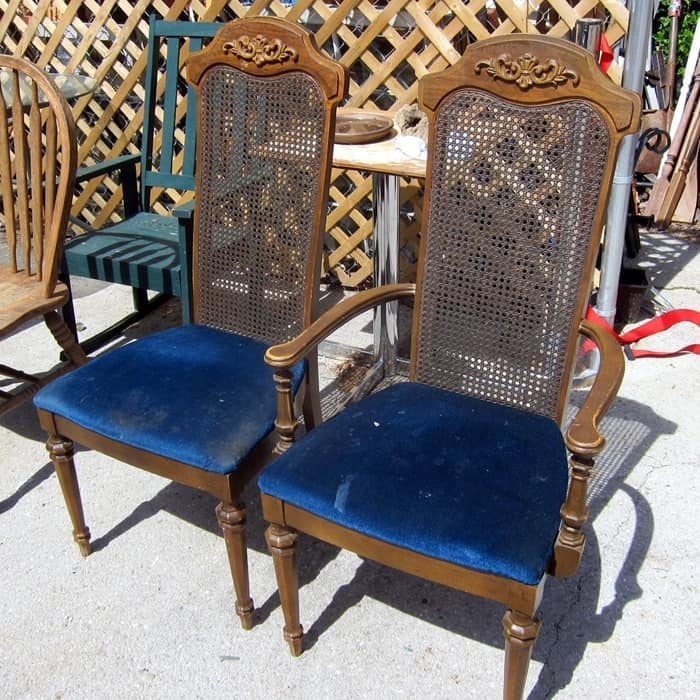 vintage chairs with fabric seats for painting and recovering