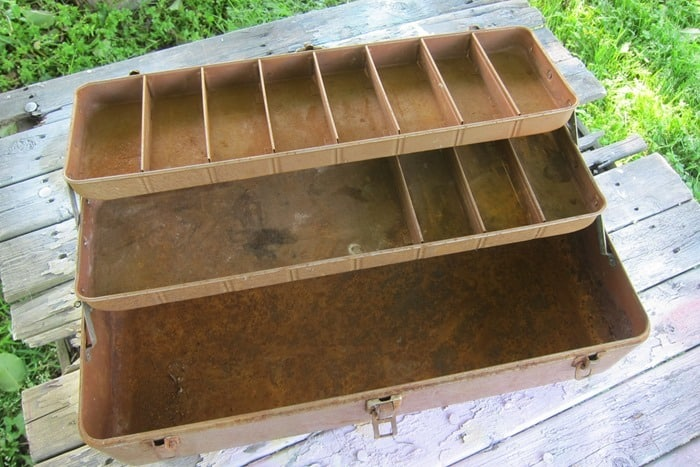 old tackle box for jewelry box project