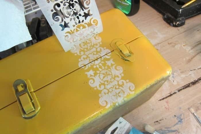 stenciled jewelry box