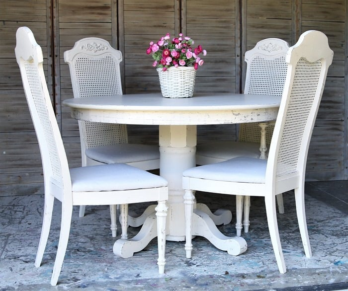 How To Paint Cane Back Chairs And Cover Seats In Drop Cloths