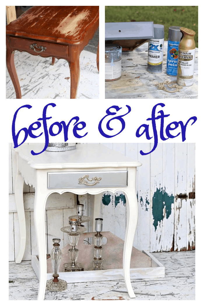 before and after nightstand table paint makeover