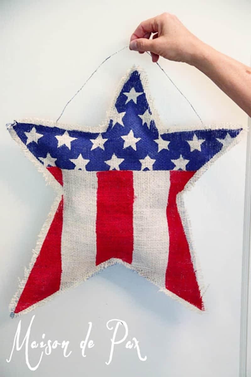 burlap star flag shara