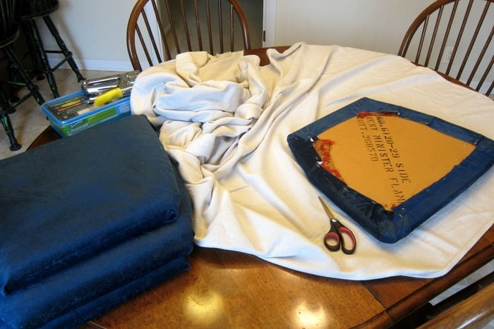 cut drop cloth fabric to cover chair seats