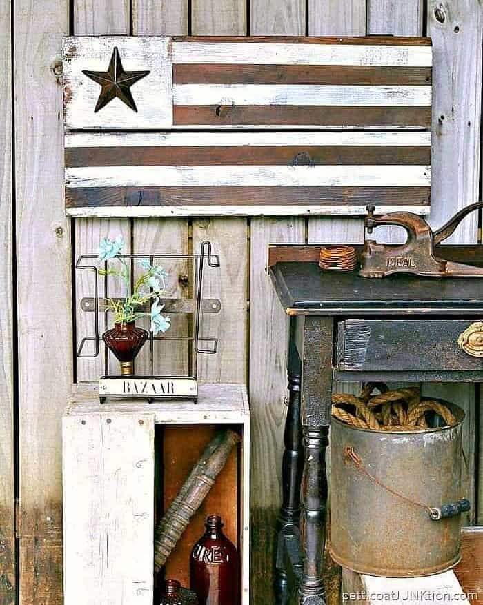 decorating with a rustic Farmhouse style flag by Petticoat Junktion