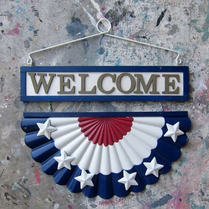 diy supplies for making a welcome shutter sign for Summer
