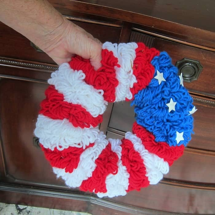 handmade yarn wreath in red white and blue