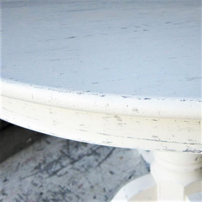 how to faux distress white paint with a layering block and dark paint