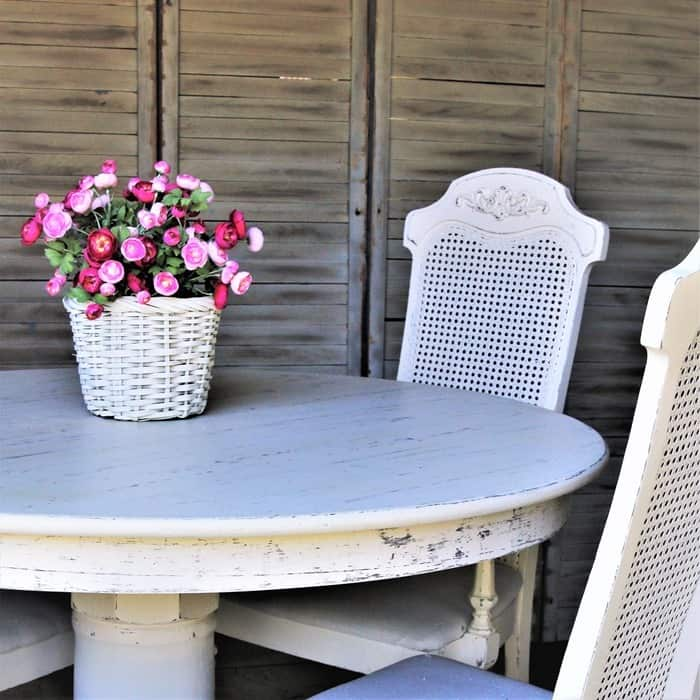 how to paint an oak table and cane back chairs