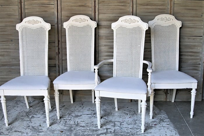 how to paint cane back chairs and cover the seats with drop cloths