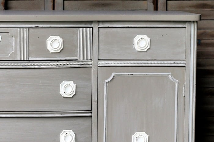 how to paint furniture with chalky type paint and then white wash the paint