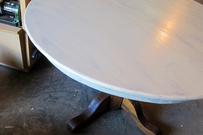 one coat of paint on oak table
