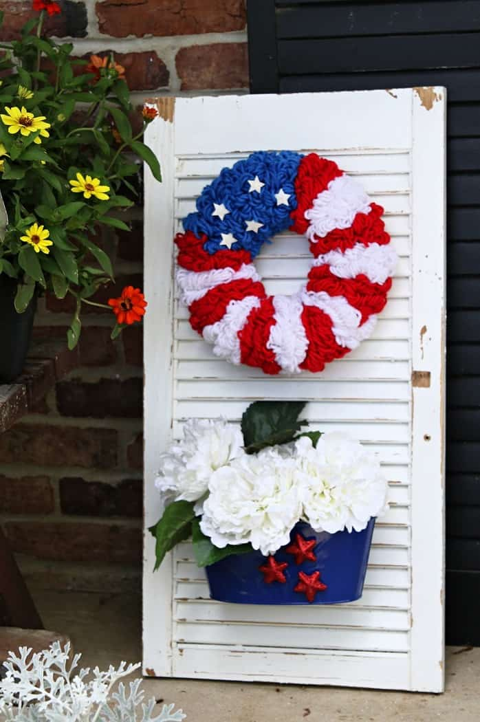 red white and blue patriotic shutter sign