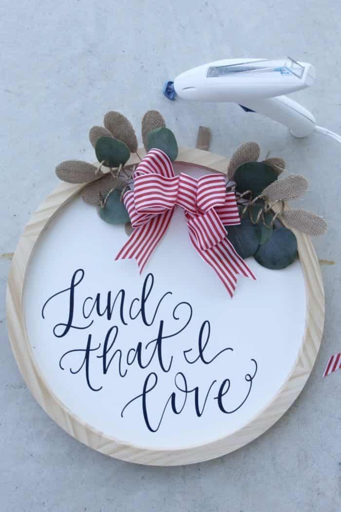 using glue gun on wreath