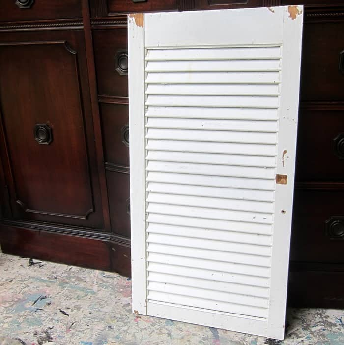 white wood shutter to recycled into a patriotic sign