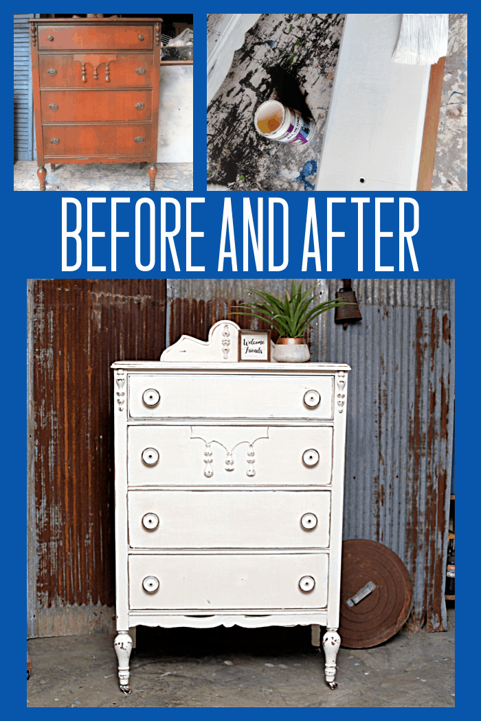 How to paint vintage furniture white and distress the paint