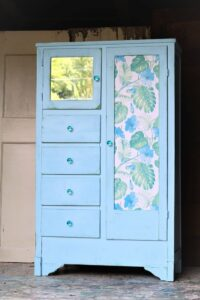 furniture makeover in green and blue with tropical flower design