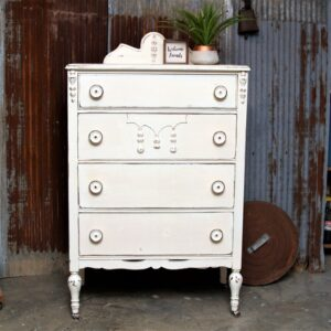 fearless furniture makeover with big fat knobs and white distressed paint