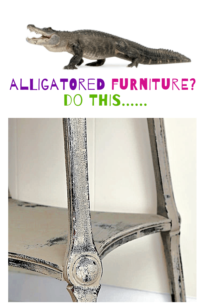 how to paint and distress alligatored furniture finish