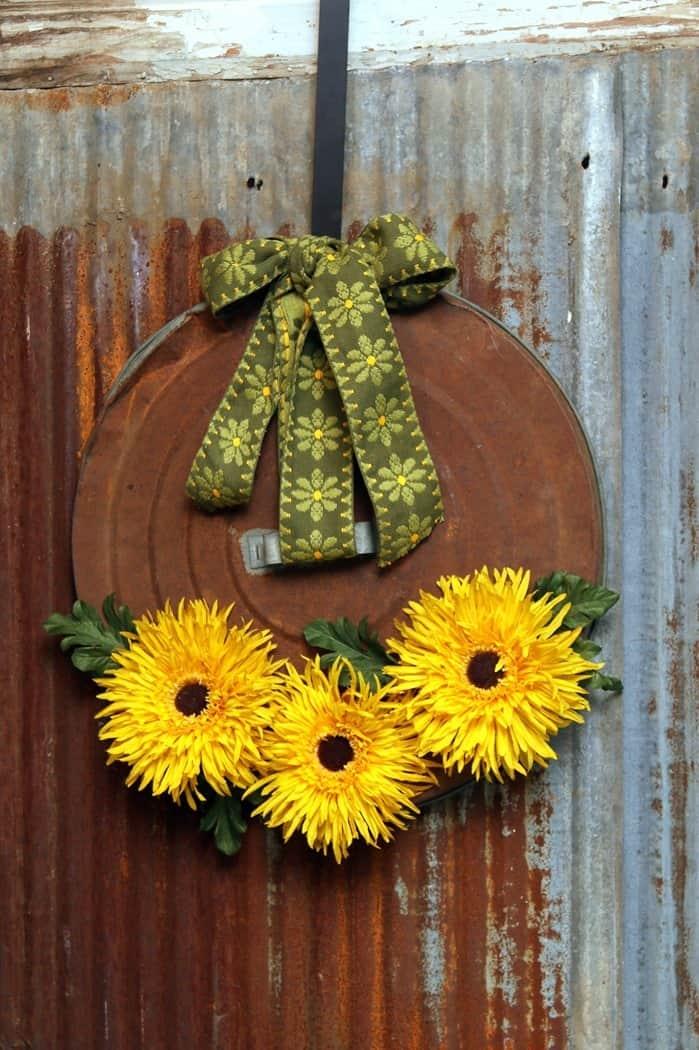 rusty can lid sunflower wreath for the door