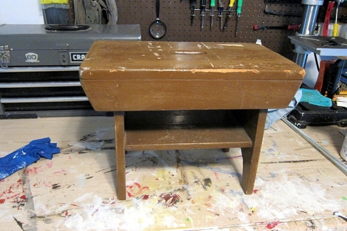 small wood stool bought at auction