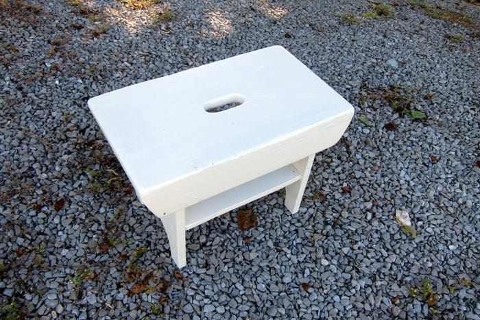 stool with two coats of white paint