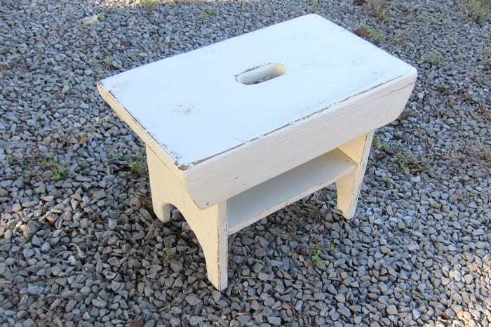 stool with white distressed paint