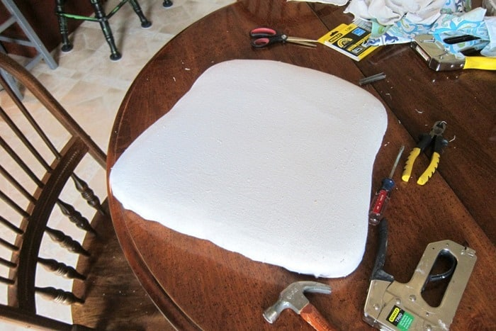 cover a dining room chair seat with drop cloth