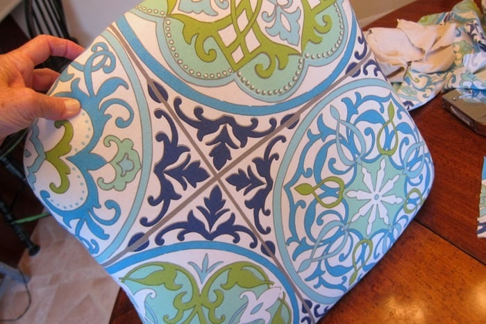 re-cover a fabric chair seat with shower curtain fabric