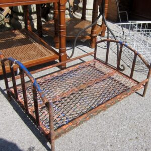 rustic wrought iron baby bed from the junk shop