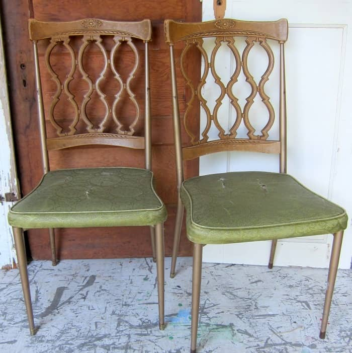 vintage metal dining chairs to paint and redo