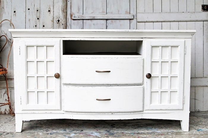 How to paint an entertainment center white