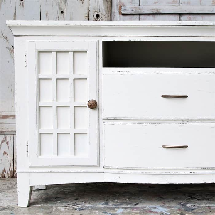 how to paint fake wood furniture and distress the white paint