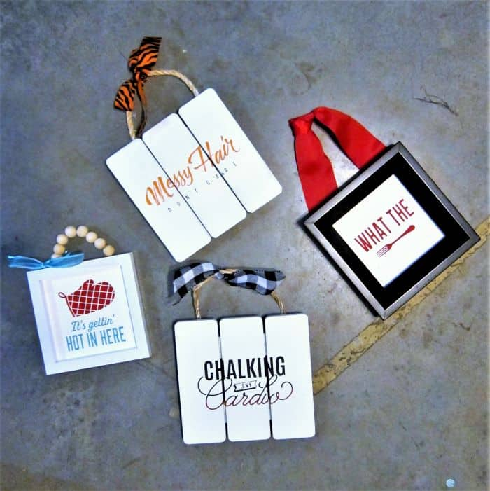 small DIY home decor signs made with Chalk Couture