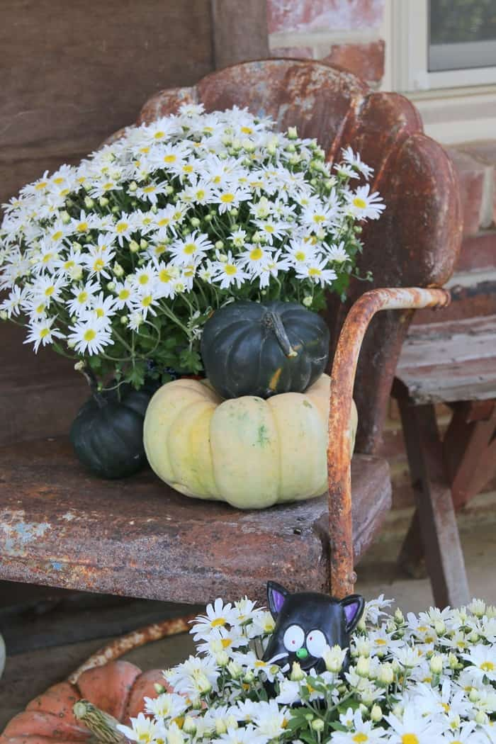 How To Decorate The Porch For Fall With Mums And Vintage Finds (2)